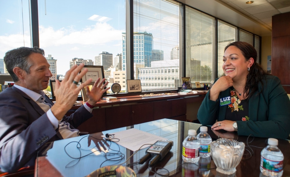 (Rick Egan | The Salt Lake Tribune) Derek Miller, the president and CEO of the Salt Lake Chamber and Downtown Alliance interviews Salt Lake City Mayoral candidate, Luz Escamilla in his office, Monday, Sept. 30, 2019.