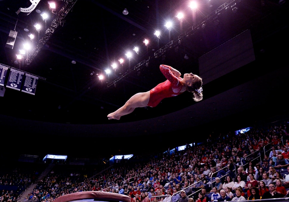 Leah Hogsten | The Salt Lake Tribune Utah's MyKayla Skinner scored a 9.975 on the vault as No. 3 University of Utah gymnastics team meets BYU gymnastics at the Marriot Center, Jan. 10, 2019.