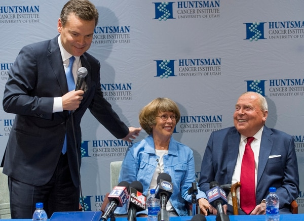 (Leah Hogsten | Tribune file photo) Peter Huntsman, CEO of the Huntsman Cancer Foundation, gets a laugh from his parents, Karen and Jon Huntsman Sr. during a Huntsman Cancer Institute event earlier this year. Jon Huntsman Sr. is stepping down from his post as chairman of Huntsman Corp. He will be chairman emeritus, a title he has at The Salt Lake Tribune.