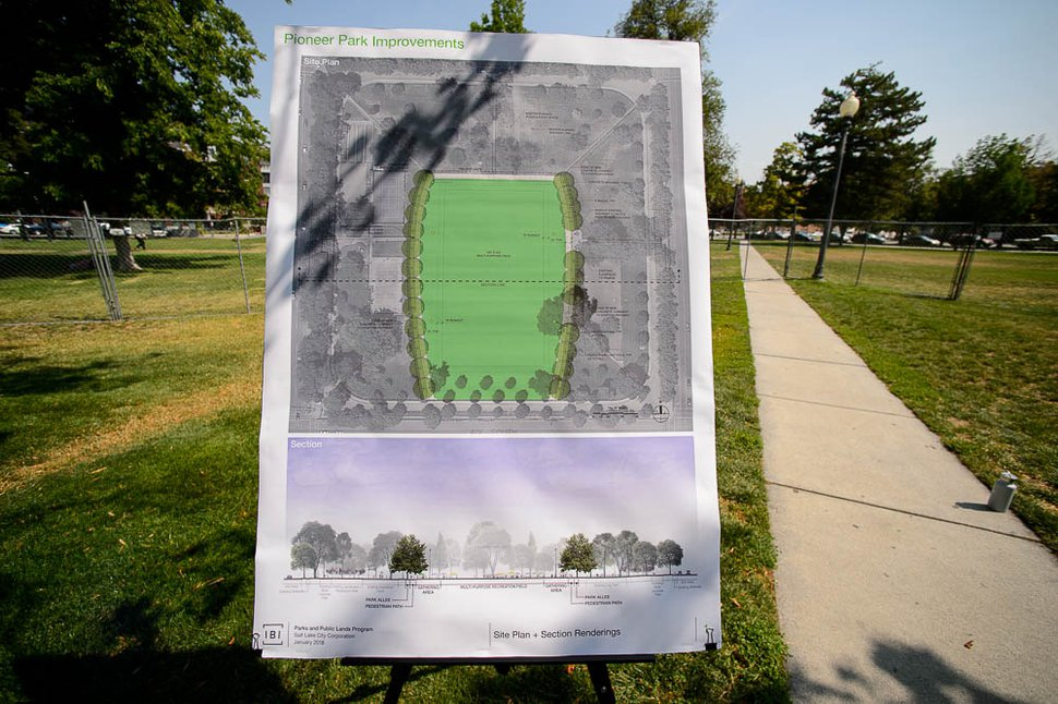 (Trent Nelson | The Salt Lake Tribune) Plans for a multi-purpose field in Salt Lake City's Pioneer Park. Wednesday Aug. 1, 2018.