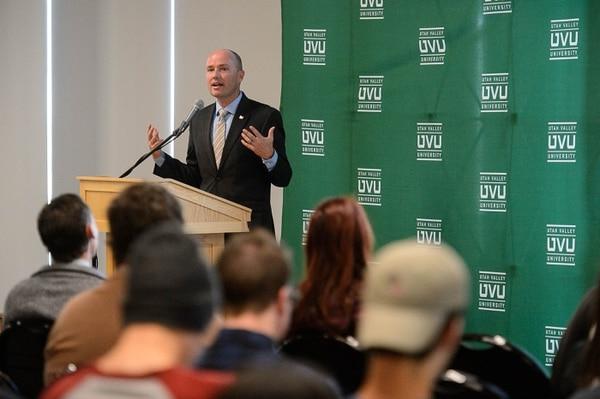 (Trent Nelson   The Salt Lake Tribune) Lt. Gov. Spencer J. Cox speaks at Utah Valley University's Ethics Awareness Week, Tuesday September 26, 2017.