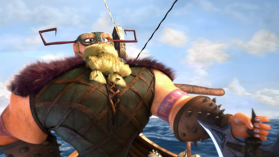 (Image courtesy BYU Center for Animation) A Viking captain arrives on an island where a friendly dragon lives, in a scene from Grendel, a computer-animated short produced by students at Brigham Young University.
