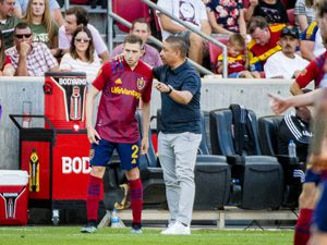 (Isaac Hale   Special to The Tribune) Real Salt Lake head coach Freddy Juarez talks with defender Andrew Brody (2) during a MLS game between Real Salt Lake and Houston Dynamo FC at Rio Tinto Stadium in Sandy on Saturday, June 26, 2021.