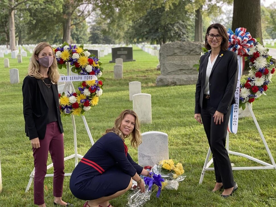 (Photo courtesy of Sen. Deidre Henderson) Katherine Kitterman, left, Zandra Anderson, center, and Sen. Deidre Henderson, right, visit the headstone of Seraph Young Tuesday, Sept. 29, 2020, at Arlington National Cemetery in Washington, D.C.