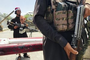 """(AP) Taliban fighters stand guard at a checkpoint near the US embassy that was previously manned by American troops, in Kabul, Afghanistan, Tuesday, Aug. 17, 2021. The Taliban declared an """"amnesty"""" across Afghanistan and urged women to join their government Tuesday, seeking to convince a wary population that they have changed a day after deadly chaos gripped the main airport as desperate crowds tried to flee the country."""