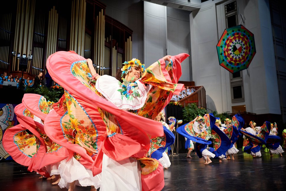 """(Photo courtesy of The Church of Jesus Christ of Latter-day Saints) Dancers in """"Luz de las Naciones: A Home for All"""" (""""Light of the Nations"""") practice choreography in the Conference Center in Salt Lake City for a past performance."""