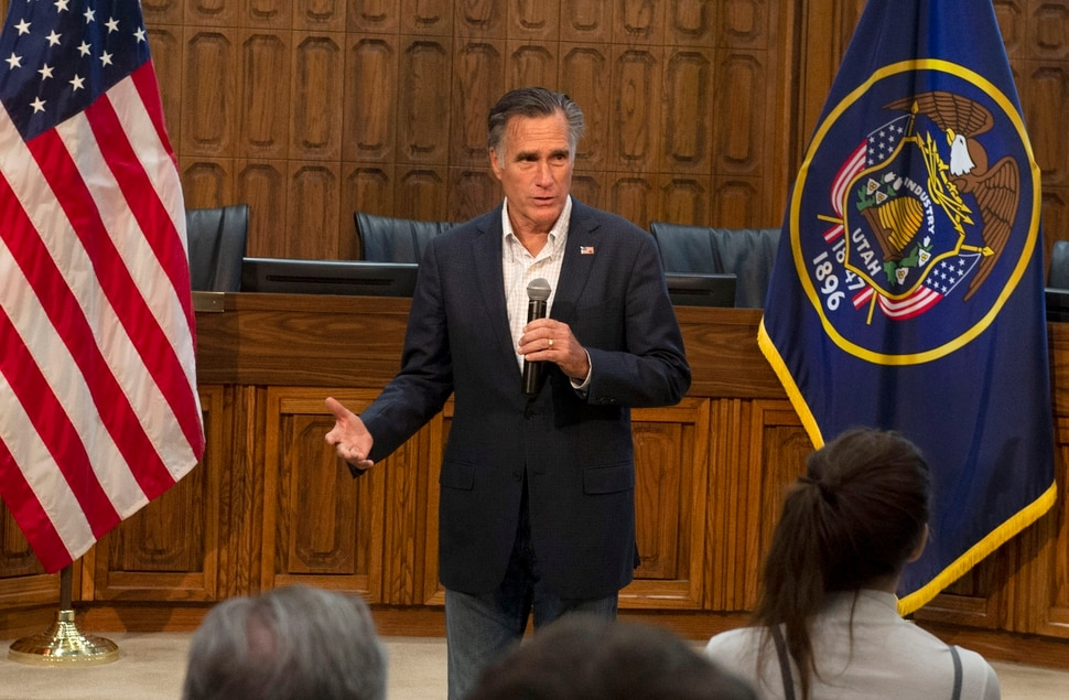 (Rick Egan | The Salt Lake Tribune) Mitt Romney speaks during a town hall meeting at the Provo City Hall Council Chambers, Friday, June 21, 2019.