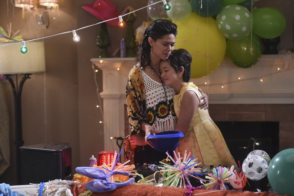 "(Photo courtesy of Fred Hayes/Disney Channel) Bex (Lilan Bowden) consoles Andi (Peyton Elizabeth Lee) in an episode of ""Andi Mack."""