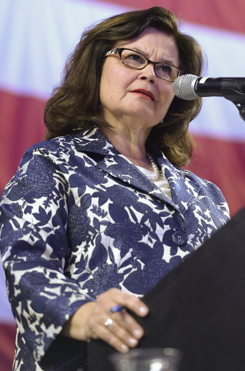 (Leah Hogsten | The Salt Lake Tribune) Convention chairwoman Enid Greene Mickelsen tries to maintain order with the raucous crowd at the Utah Republican Nominating Convention Saturday, April 21, 2018 at the Maverik Center.