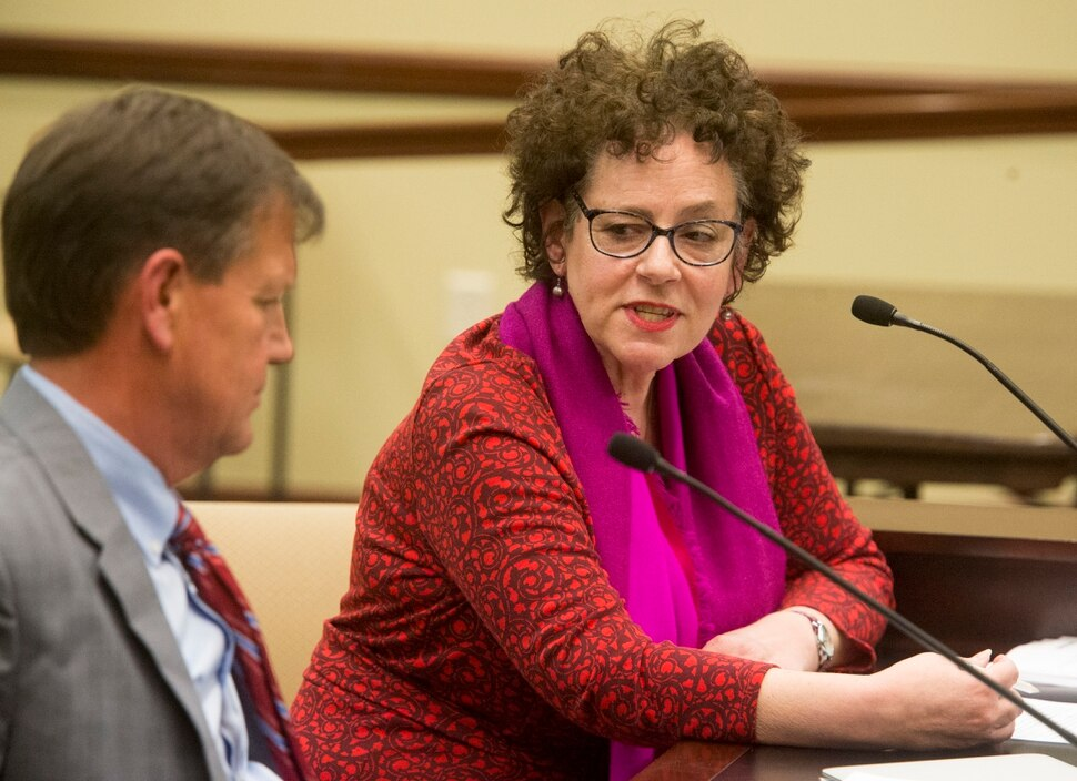 (Rick Egan | The Salt Lake Tribune) Heather Bennett, President of the Salt Lake City Board of Education, speaks out against HB 175, the oversight committee creation bill, during the House Government Operations Standing Committee, Feb. 1, 2018. Bennett died March 18, 2019, from a sudden cardiovascular problem. Bennett was 61.