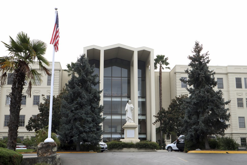 (Emily Schwing/Reveal via AP) This Nov. 19, 2018, photo shows the Sacred Heart Jesuit Center in Los Gatos, Calif. Abusive priests formerly at the Cardinal Bea House on the campus of Gonzaga University in Spokane, Wash,, were moved to the Los Gatos facility.