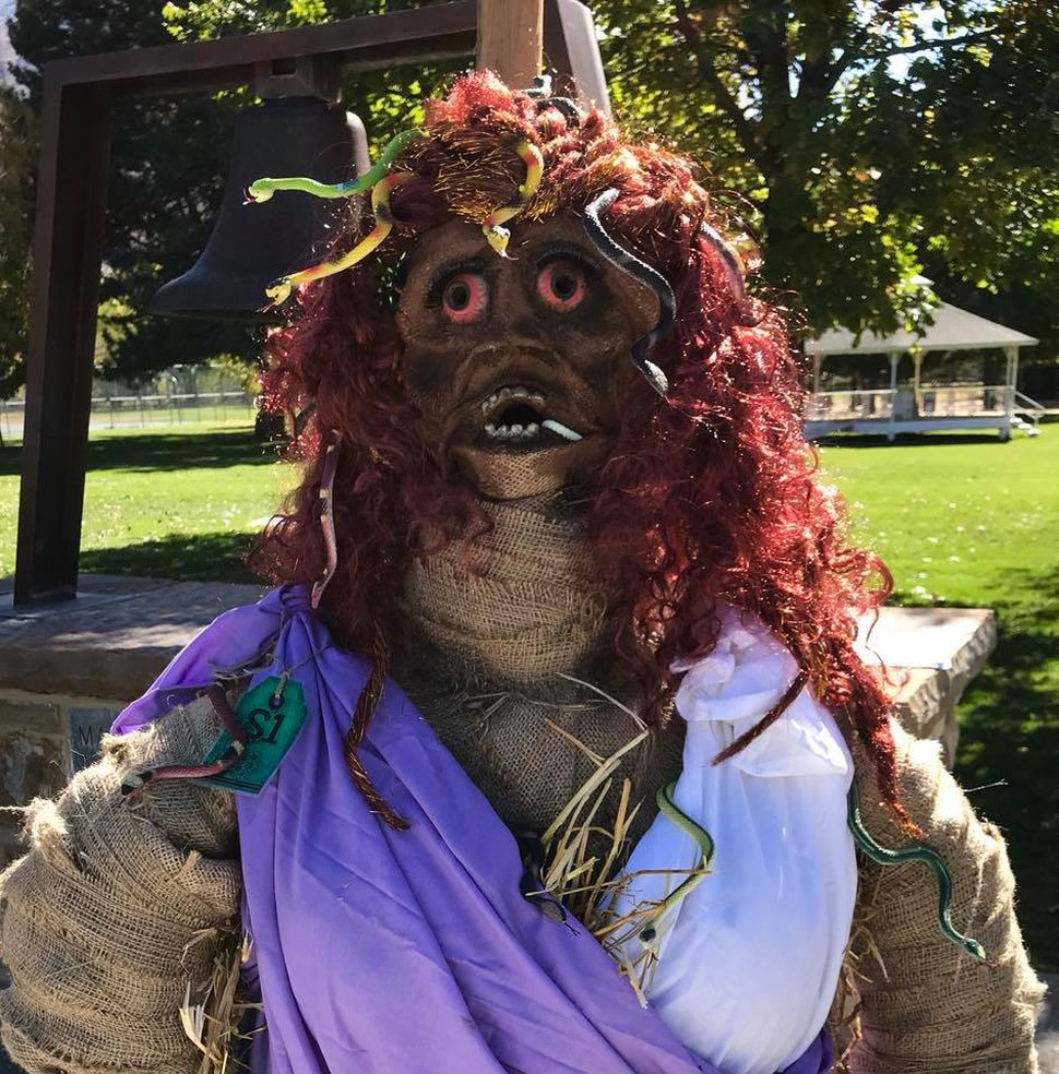 (Photo courtesy of Sue Rampton Dyle) One of the scarecrows at the Mapleton event.