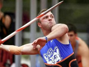 (Wyatt Warnick) Wyatt Warnick competing in javelin while at BYU.