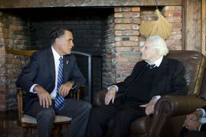 (AP Photo/ Evan Vucci) Republican presidential candidate Mitt Romney meets with the Rev. Billy Graham, Thursday, Oct. 11, 2012, in Montreat, N.C.