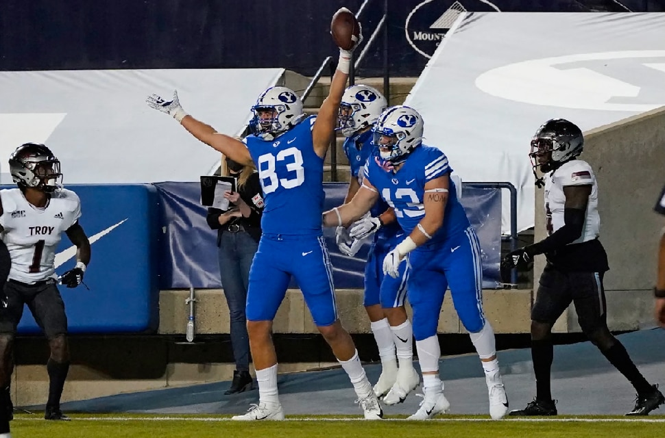 BYU tight end Isaac Rex (83) celebrates his touchdown against Troy during the first half of an NCAA college football game Saturday, Sept. 26, 2020, in Provo, Utah. (AP Photo/Rick Bowmer, Pool)