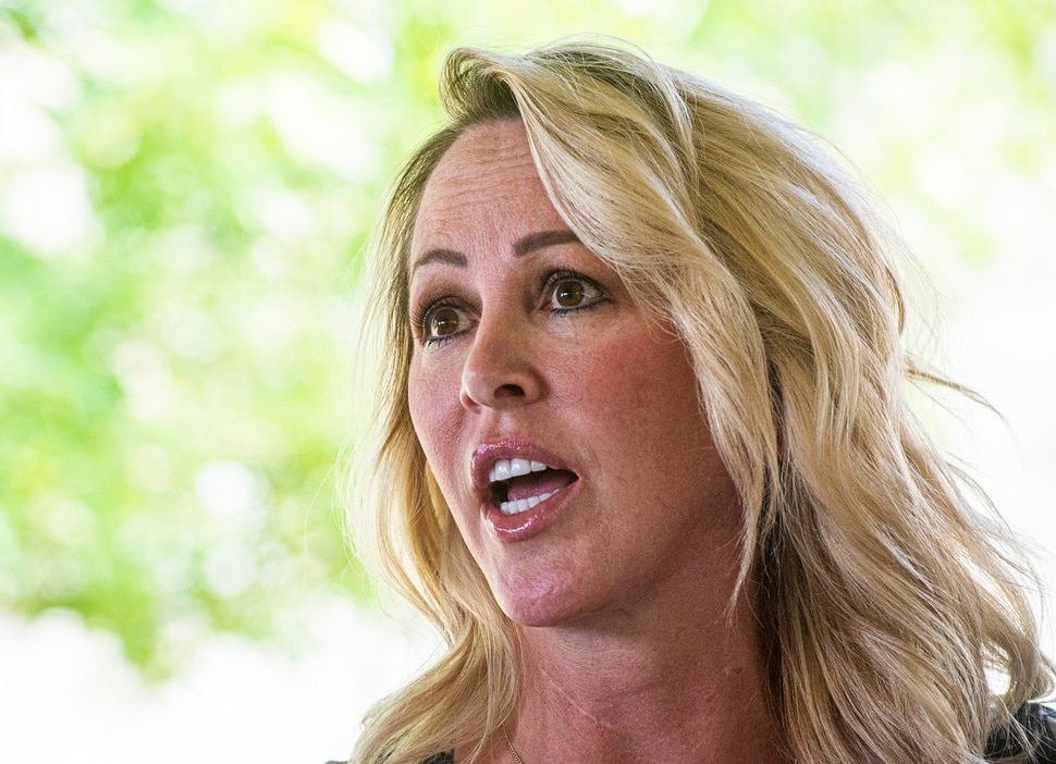 (Rick Egan | The Salt Lake Tribune) Cottonwood Heights city councilwoman Tali Bruce talks about what happened during a protest Sunday during a news conference on Monday, Aug. 3, 2020.