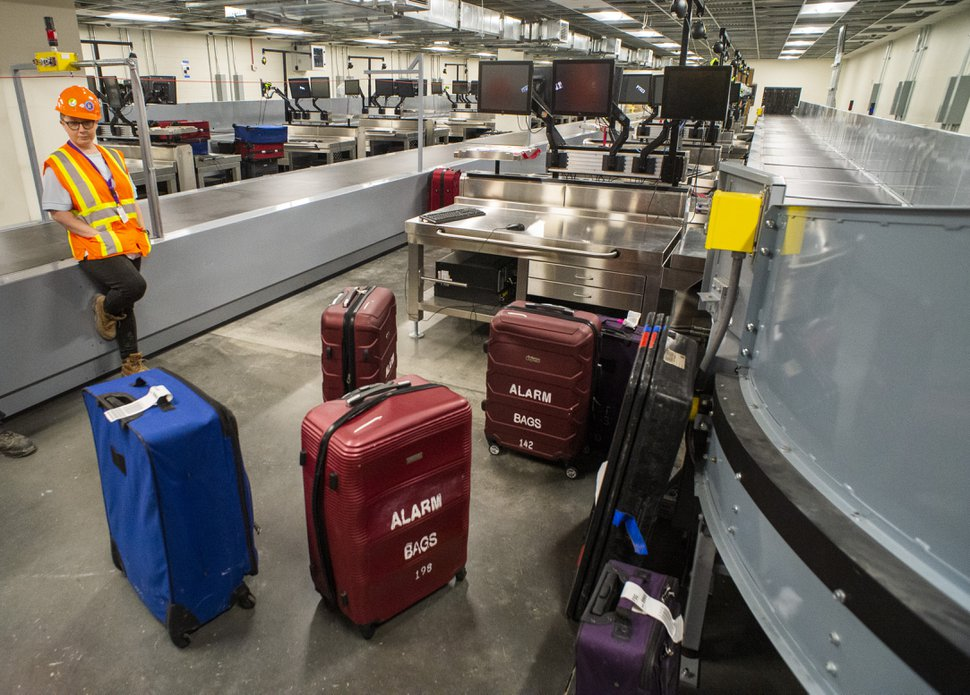 (Rick Egan | The Salt Lake Tribune) Security area in the new luggage sorting area, Monday, Sept. 23, 2019. In less than a year, the first phase of the new Salt Lake City International Airport will open.