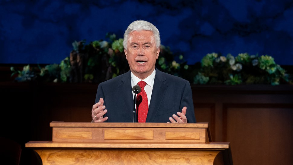 (photo courtesy The Church of Jesus Christ of Latter-day Saints) Elder Dieter F. Uchtdorf speaks during the Sunday afternoon session of General Conference on April 5, 2020.
