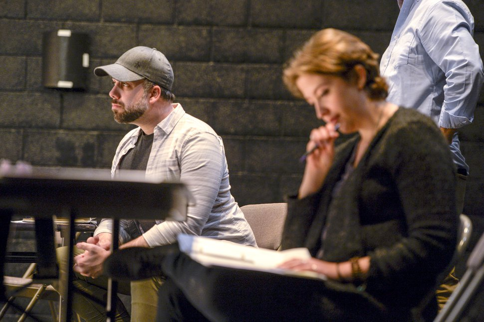 ( Leah Hogsten | The Salt Lake Tribune ) Playwright Matthew Greene and Plan B rehearsal stage manager Catherine Heiner watch actor Austin Archer (unseen) during a rehearsal of Greene's upcoming one-man play
