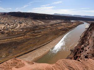 (Francisco Kjolseth  | The Salt Lake Tribune) The Colorado River flows into Lake Powell near Hite Marina on Thursday, Feb. 4, 2021.