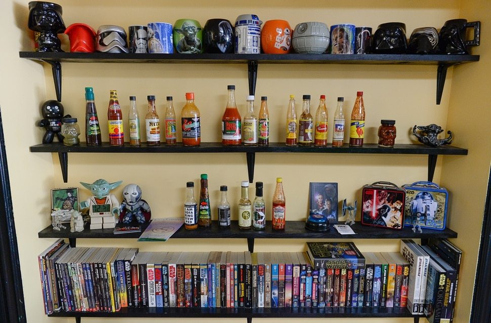 (Francisco Kjolseth | The Salt Lake Tribune) This unique shelf display at the The Twin Suns Cafe, represents its Star Wars theme and a menu with Southwest flavors.
