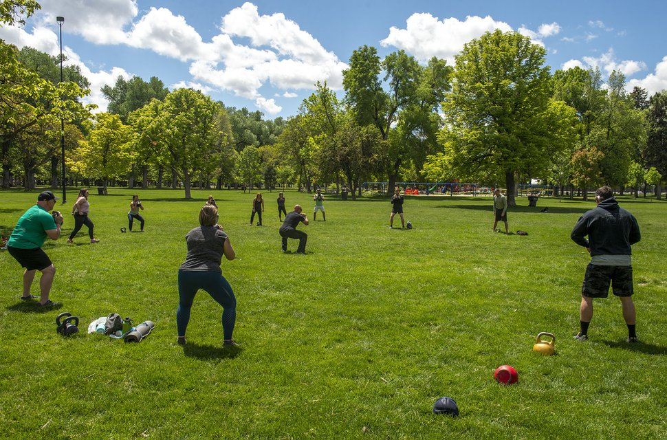 (Rick Egan | The Salt Lake Tribune) Frank Young leads a fitness class at Liberty Park in Salt Lake City on Saturday, May 23, 2020.