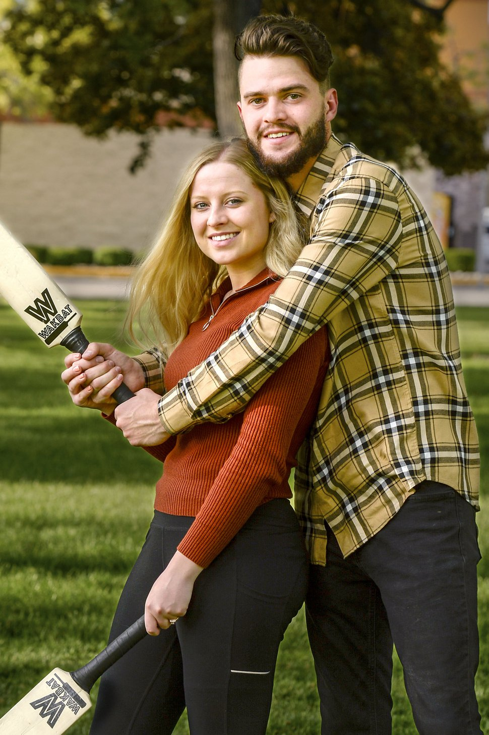 (Leah Hogsten | The Salt Lake Tribune) High School sweethearts turned college students Josh Crockett and wife Sydney Crockett have created Wakbat, a friendly lawn game, May 11, 2020. Wakbat is a derivative of a game they saw played in the city of Sao Paulo during their LDS missions to Brazil.