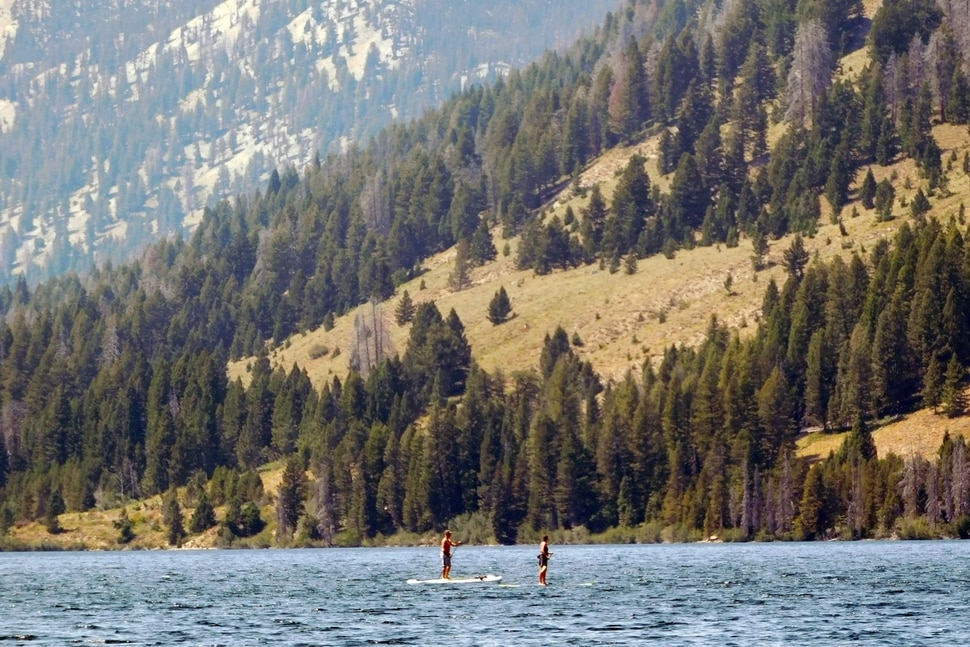 Visitors float stand-up paddle boards over Alturas Lake on August 20, 2017 near Stanley, Idaho. (Erin Alberty | The Salt Lake Tribune)