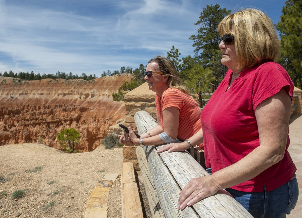 (Rick Egan | The Salt Lake Tribune) Alese Rhodes of Tri-Cities Wash., and Debbie Schorzman of Portland Ore., check out the view at Sunset Point at Bryce Canyon National Park, Wednesday, May 6, 2020