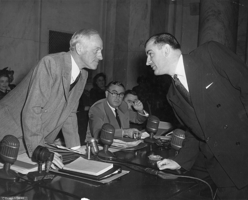 (Photo courtesy of the U.S. Senate Historical Office) Sen. Joseph McCarthy (R-Wisc.) and Sen. Millard Tydings (R-Maryland) face off on the first day of hearings into McCarthy's allegations that scores of communists were working in the State Department.
