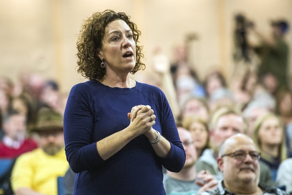 (Chris Detrick | The Salt Lake Tribune file photo) Teacher Chelsie Acosta asks a question during a town hall meeting in 2017.