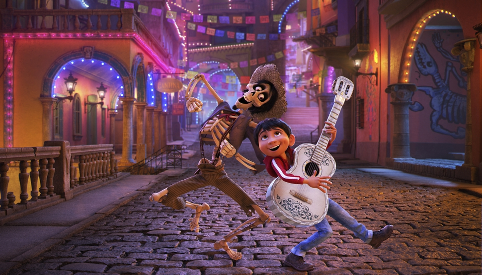 In this image released by Disney-Pixar, character Hector, voiced by Gael Garcia Bernal, left, and Miguel, voiced by Anthony Gonzalez, appear in a scene from the animated film,