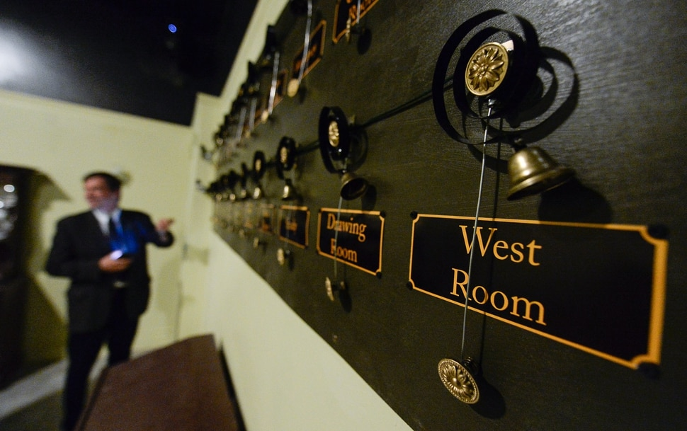 (Francisco Kjolseth | The Salt Lake Tribune) Les Pardew, owner of the Mystery Escape Room at The Gateway gives a tour of the re-created rooms from Downton Abbey for its latest attraction.