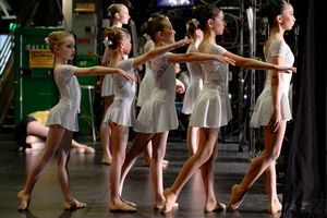 (Francisco Kjolseth  |  The Salt Lake Tribune) Young dancers get ready to take the stage with an entry entitled 'Skyward' as part of Youth America Grand Prix student ballet scholarship auditions at the Capitol Theatre in Salt Lake City on Saturday, Feb. 22, 2020.