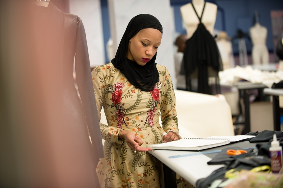 "(Photo: Barbara Nitke/Lifetime) Ayana Ife hard a work on her first ""Project Runway"" design."