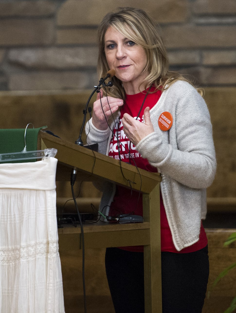 Rick Egan | The Salt Lake Tribune Carolyn Tuft speaks at a vigil to mark the 10th anniversary of the Trolley Square shootings at Zion Evangelical Lutheran Church, Sunday, February 12, 2017.
