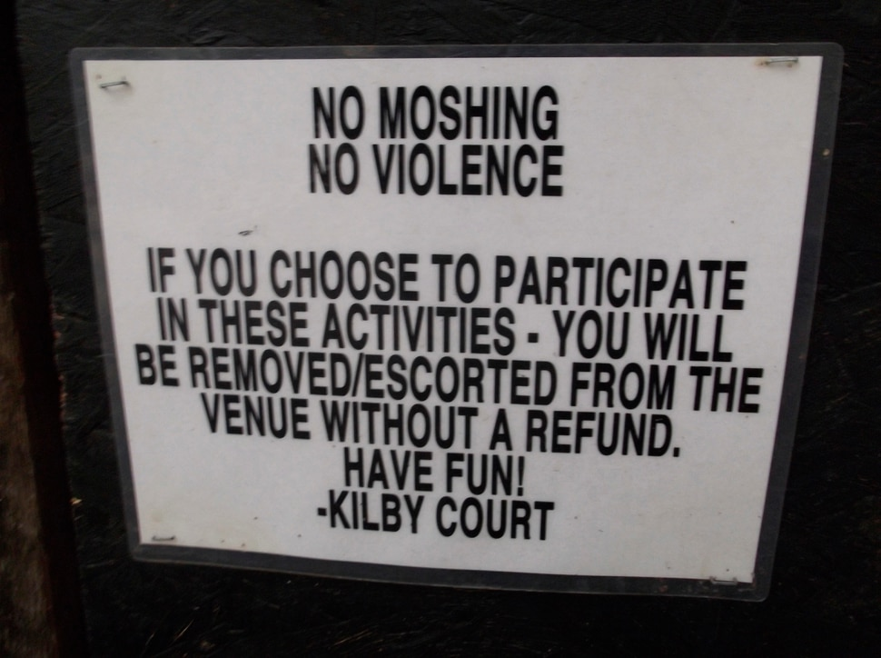 (Sean P. Means | Tribune file photo) No moshing and no violence at Kilby Court, as shown in this sign. Salt Lake City's all-ages music venue turns 20 this year.