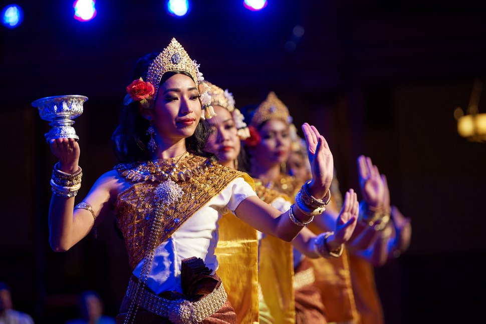 (Photo courtesy of The Church of Jesus Christ of Latter-day Saints) The Khemera Dance Troupe, a Cambodian Buddhist group, performs at an interfaith concert March 8, 2020, in the Tabernacle.