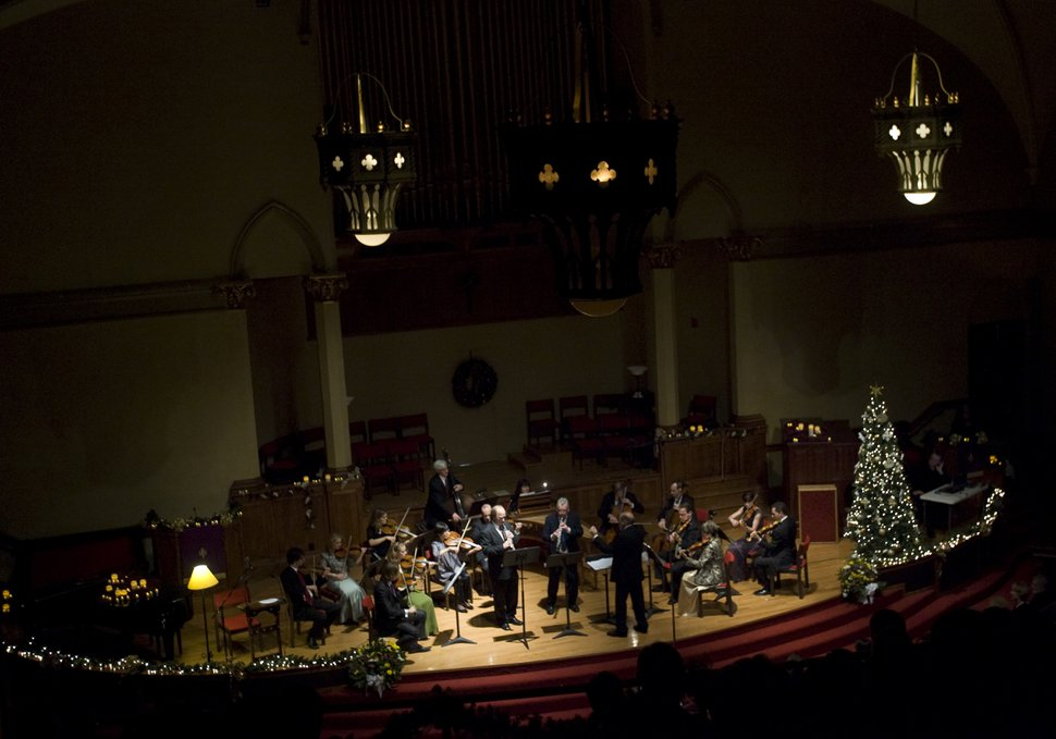 Kim Raff | The Salt Lake Tribune Musicians perform during the 30th Annual Vivaldi by Candlelight Benefit Concert at First Presbyterian Church in Salt Lake City on December 15, 2012.