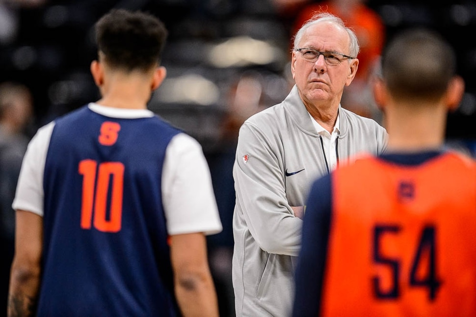 (Trent Nelson | The Salt Lake Tribune) Syracuse coach Jim Boeheim at a practice session for the 2019 NCAA Tournament in Salt Lake City on Wednesday March 20, 2019.