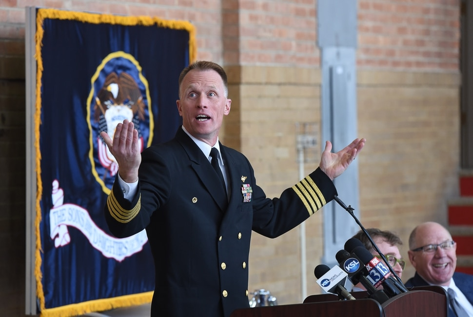 (Francisco Kjolseth | The Salt Lake Tribune) Capt. Mark Springer, USN, commanding officer and professor of Naval Science at the University of Utah makes a few remarks during a ceremony to mark the return of the bell from the USS Utah to the Naval Science building to the university. The USS Utah, one of the first ships lost during the attack on Pearl Harbor on Dec. 7, 1941.