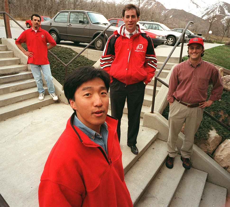 (Trent Nelson | Tribune file photo) Utah fans (from left) Nick Papastamos, Alex Lee, Brooke Smith, and Joel Collett. All but Joel are headed to the 1998 Final Four in San Antonio, Texas.