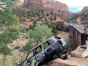 (National Parks Service) After allegedly burning several LDS churches in St. George, a man crashed his car in Zion National Park while trying to evade police.