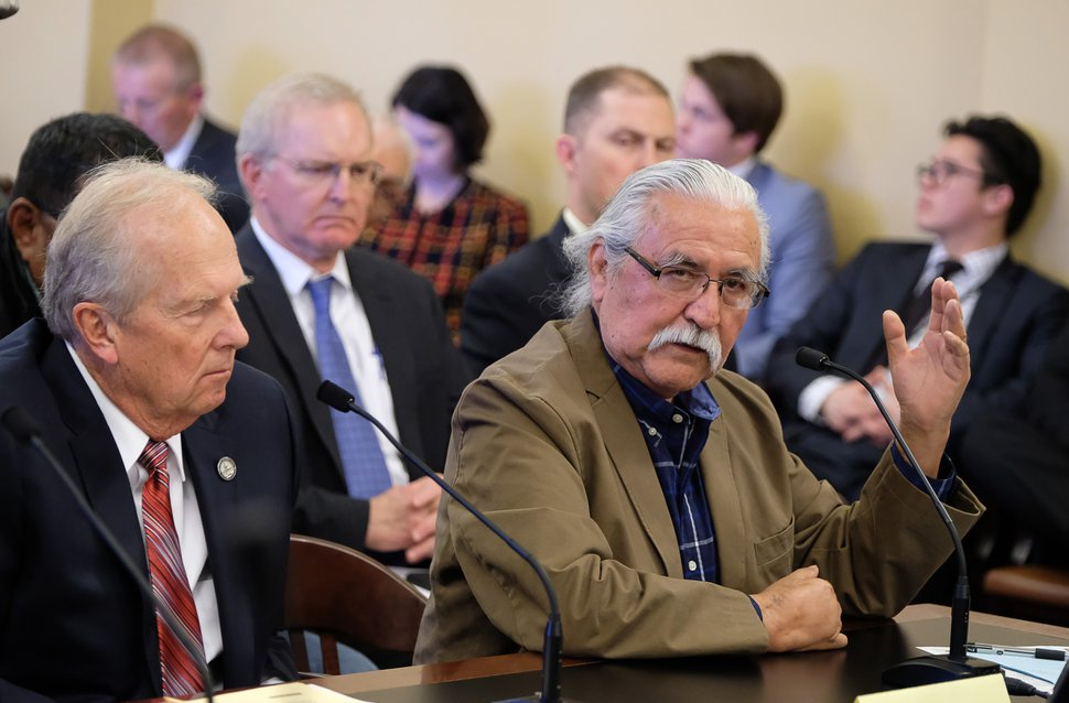 (Francisco Kjolseth | The Salt Lake Tribune) Utah Navajo DineŽ BikŽeyah member Willie Grayeyes speaks in opposition to HB136, sponsored by Rep. Mike Noel, R-Kanab, at left, which muzzles city and local officials from speaking out on public-lands protections during the House Natural Resources, Agriculture, and Environment Standing Committee at the Capitol on Tuesday, Feb. 6, 2018.