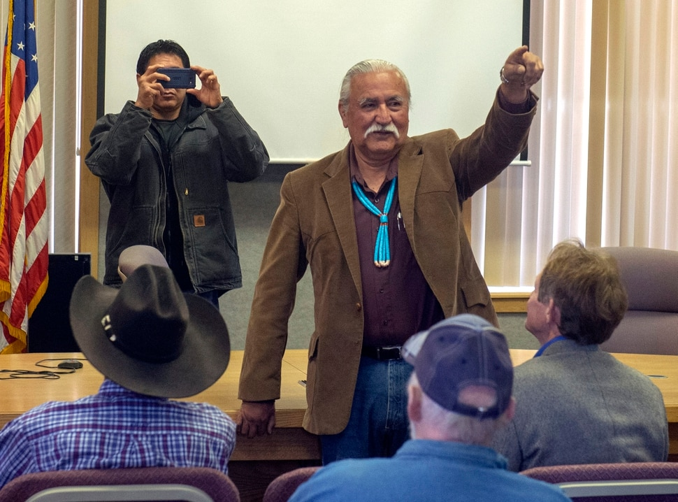 (Rick Egan | The Salt Lake Tribune) Willie Grayeyes gives a shout out to his supporters, after being sworn in to the San Juan County Commission, at the San Juan County Courthouse in Monticello, Monday, Jan. 7, 2019.