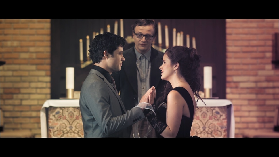 (Photo courtesy Parking Garage Pictures) Romeo (Dallon Major, left) and Juliet (Devin Neff, right) say their vows before Friar Lawrence (Brian Kocherans) in a movie version of Shakespeare's