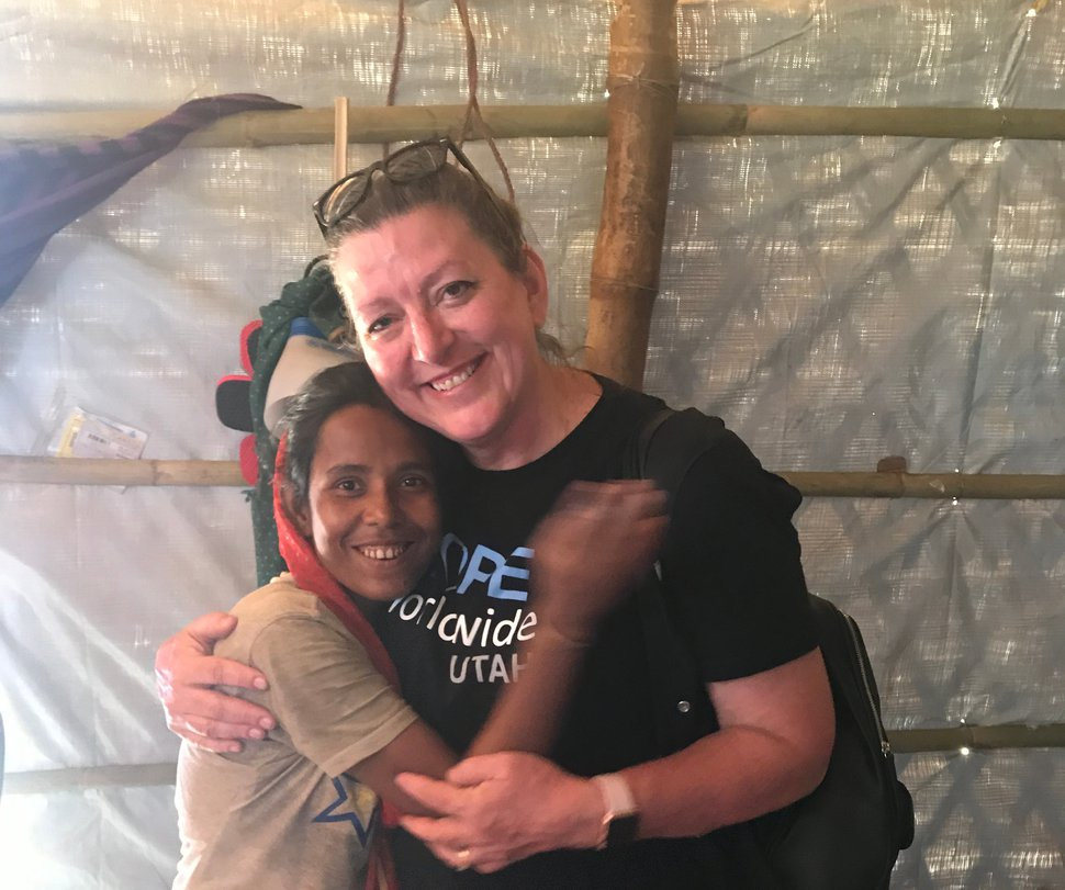 Holly Richardson is welcomed into the home of a Rohingya Muslim refugee in Bangladesh.