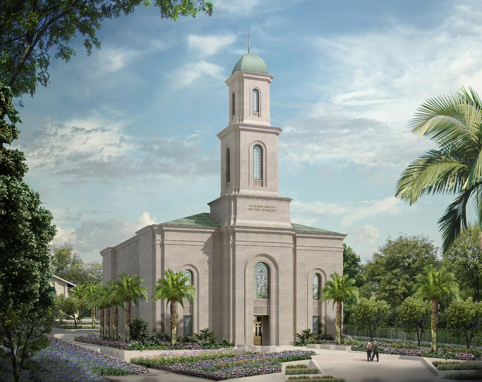 (Rendering courtesy of The Church of Jesus Christ of Latter-day Saints) Davao Philippines Temple exterior rendering.