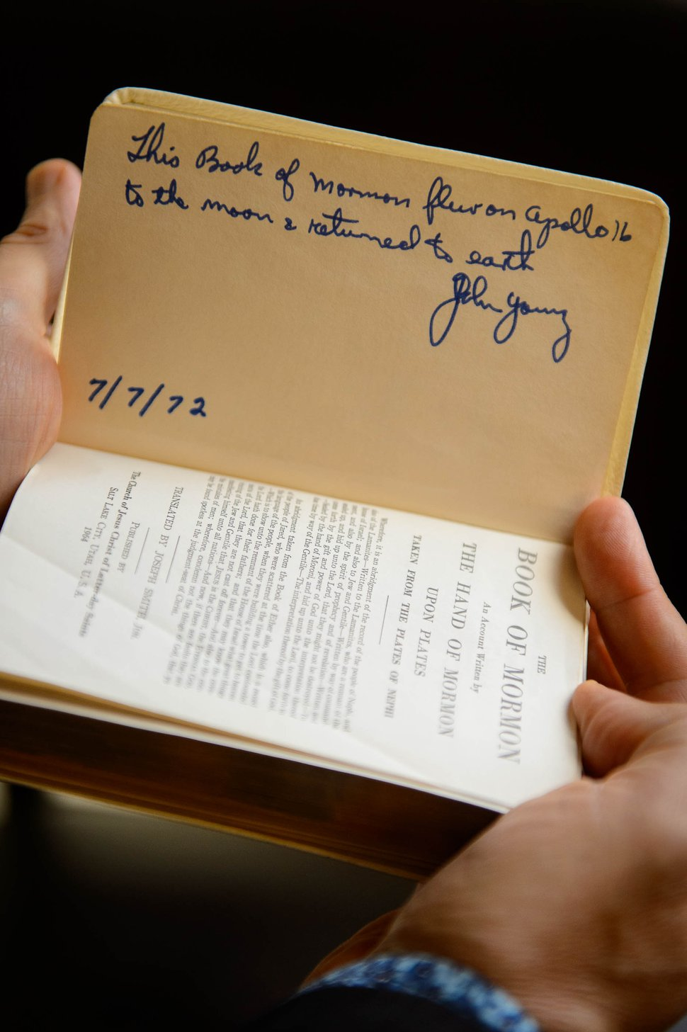 (Trent Nelson | The Salt Lake Tribune) Astronaut John Young's signature on a Book of Mormon that went to the moon in 1972. Photographed in Salt Lake City on Wednesday Oct. 2, 2019.
