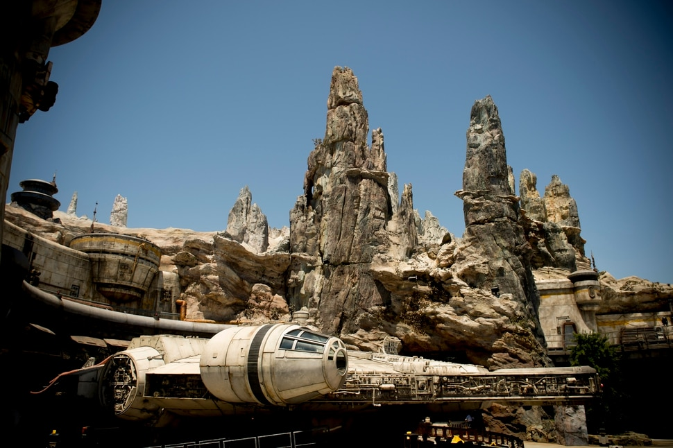 (Jeremy Harmon | The Salt Lake Tribune) The Millennium Falcon is docked at Black Spire Outpost at Star Wars: Galaxy's Edge in Anaheim, Ca. on Wednesday, May 29, 2019.